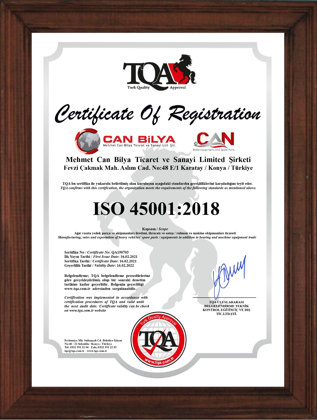 TQA ISO 45001-2018