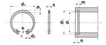 Çelik İç Segman (DIN 472) Ölçü Tablosu